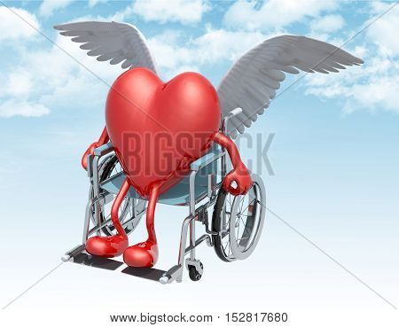 Red Heart On A Wheelchair With Bird Wings That Fly