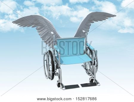 Wheelchair With Bird Wings That Fly On The Sky