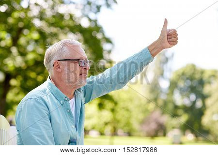old age, gesture and people concept - happy senior man in glasses sitting at summer park and showing thumbs up