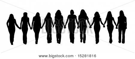 Silhouette of ten young women, walking hand in hand.
