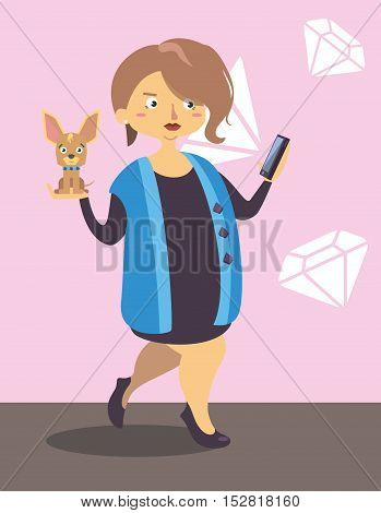 Lady walking with little dog and take a photo shoot