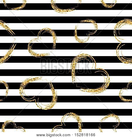 Golden grunge hearts stripes seamless pattern. Gold glitter and black template. Abstract texture. Retro Valentine day design for card wallpaper wrapping textile fabric. Vector Illustration