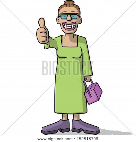 Cartoon Woman With Thumb Up