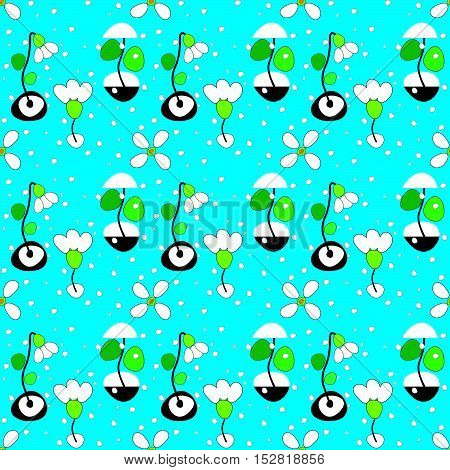 pattern with snowdrops and snowflakes on blue background