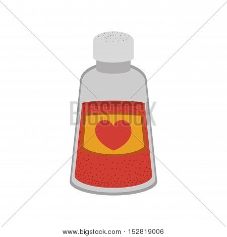love  shaker container with heart shape label. vector illustration