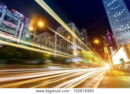 Modern city at night Hong Kong China.