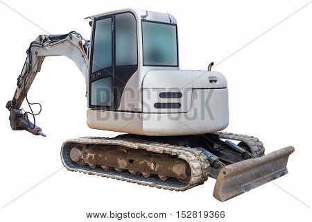 image of excavator hammer isolated on white background