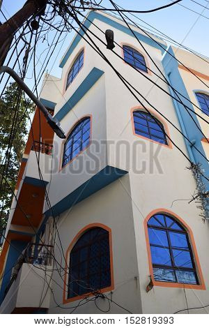 Colorful 3 storeys house in Udaipur, Rajasthan, India