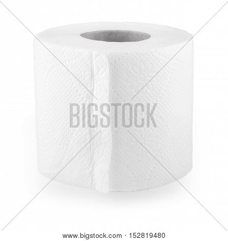 simple roll of toilet paper on a white background
