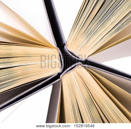 Top view of hardback books in a circle. Open book fanned pages. Back to school copy space. Education background.