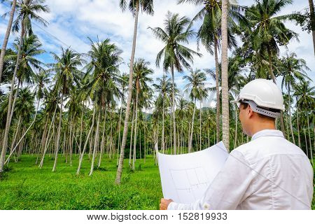 Architector inspect land for construction site. Investments in real estate