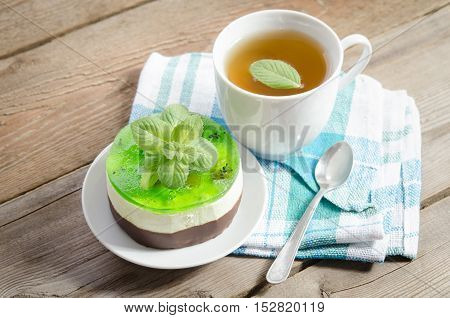 Herbal Tea With Cake On Wooden Background. Horizontal Position