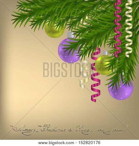 Merry Christmas and happy New Year Greeting card with Christmas tree balls and ribbons