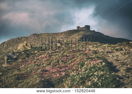 Carpathians mountain in spring time, toned like Instagram filter