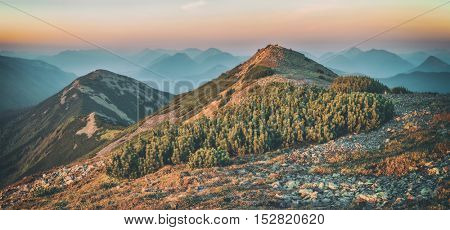 Carpathians mountain in autumn time, toned like Instagram filter