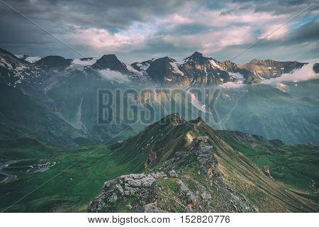 Amazing sunset on the top of grossglockner pass, Alps, Switzerland, Europe, toned like Instagram filter