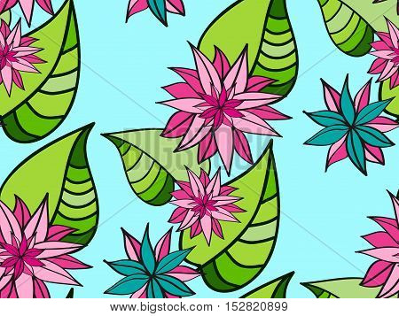 Seamless floral pattern. Abstract leaves and flowers.
