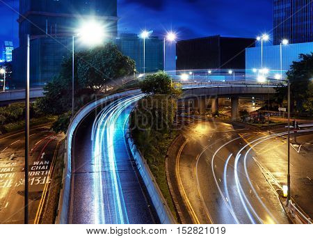Overpass of the light trails beautiful curves.
