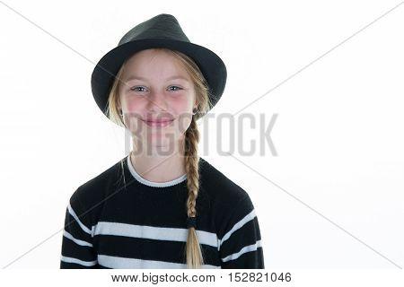 Girl Dressed In Black Wearing Top Hat