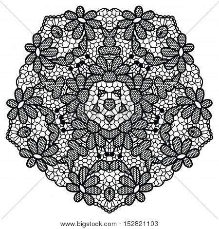 Black round lacy doily. Vector illustration. May be used for decoration or invitations.