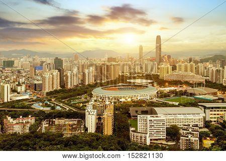 Modern skyscrapers and skyline of Shenzhen, China.