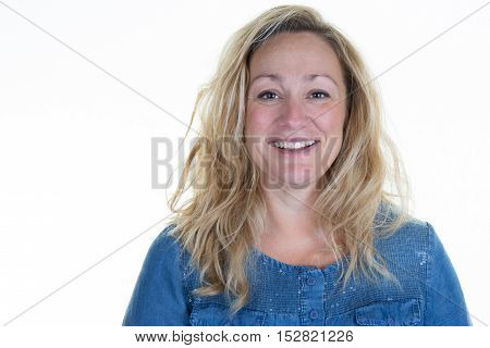 Successful Blond Woman On A White Background