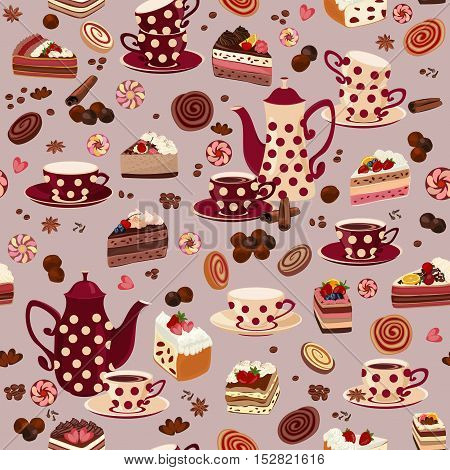 Seamless pattern with coffee pots, cups and sweets.