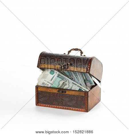 Closed chest is full of russian money roubles. Analogy of bank deposit.