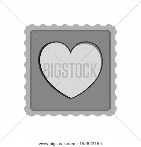 post stamp with heart shape icon inside silhouette. vector illustration