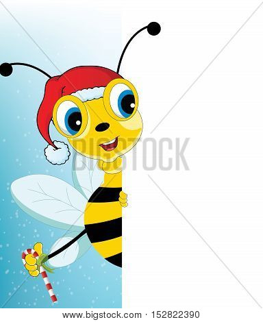 Fun Cartoon Santa Bee looking at a blank white page for use in advertising presentations brochures blogs documents and forms etc