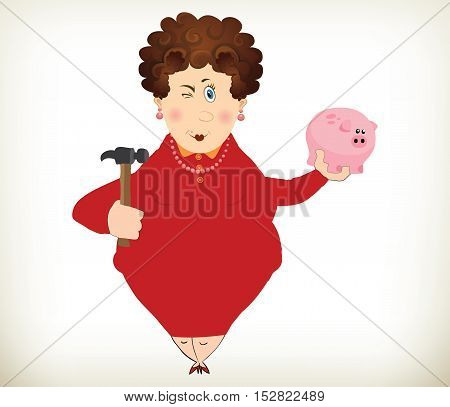 Cheerful fat lady holding a piggy bank and hammer. Saving concept.