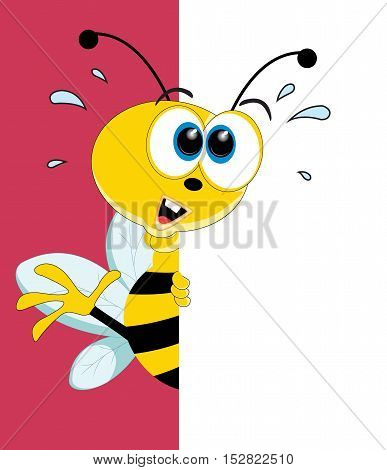 Fun Cartoon Bee looking at a blank white page for use in advertising presentations brochures blogs documents and forms etc