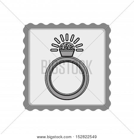 post stamp with diamond ring luxury jewelry accessory inside. vector illustration