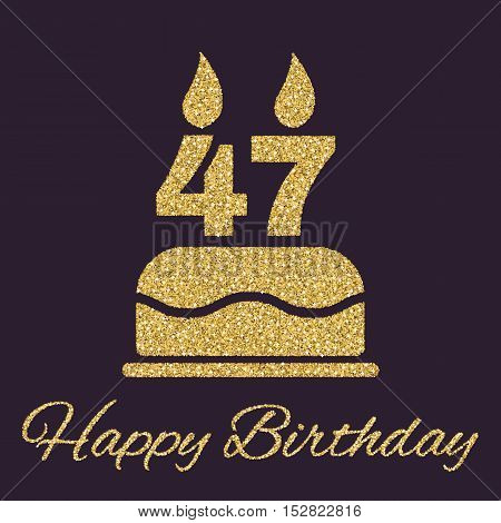 The birthday cake with candles in the form of number 47 icon. Birthday symbol. Gold sparkles and glitter Vector illustration