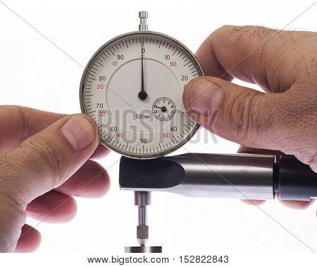 Digital indicator in hand for precise measurement