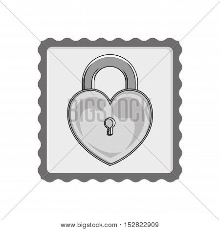 security padlock with heart shape icon. vector illustration