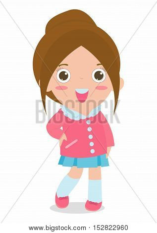 cute fashion teenage girl on white background