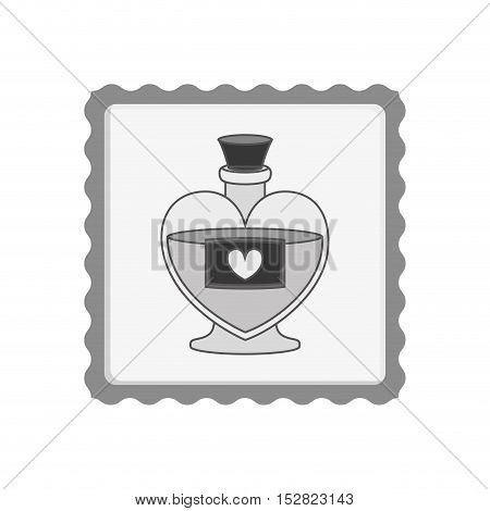 post stamp with love perfume bottle container with heart shape label. vector illustration