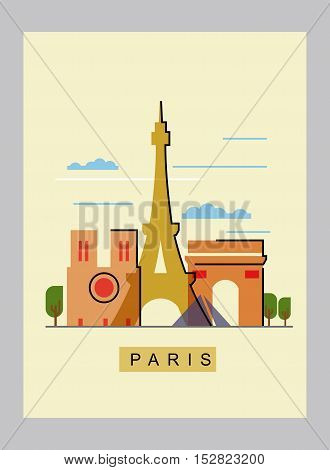 vector paris and landmark architecture vector set