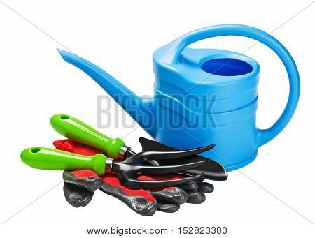 garden tools and accessories isolated on white background