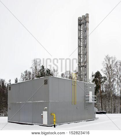 modern built a gas boiler house building
