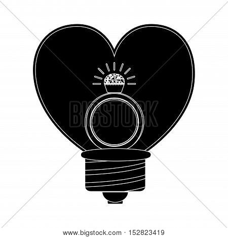 heart shaped bulb with diamond ring icon inside. vector illustration