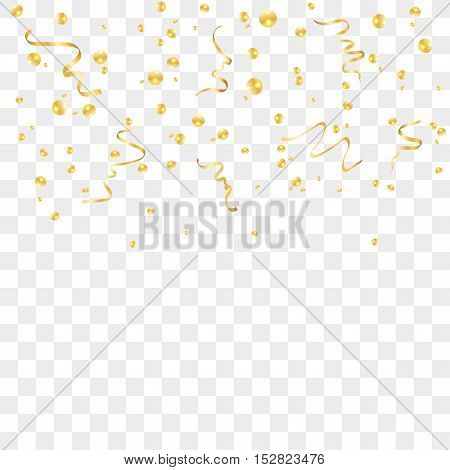 Gold confetti celebration isolated on transparent background. Falling golden abstract decoration for party birthday celebrate anniversary or Christmas New Year. Festival decor Vector illustration