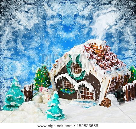 gingerbread house and candy for the holiday merry christmas