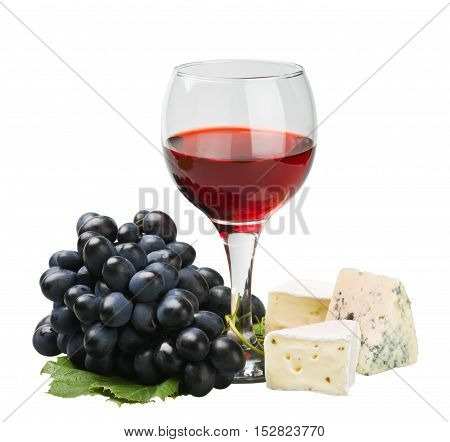 glass of red wine and grape over white