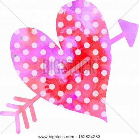 A pink watercolour love heart shape with polka dots and an arrow running through it.