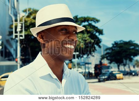 African american man from Havana at Cuba in the city in warm cinema look