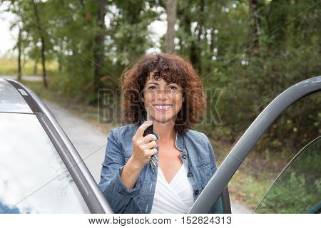Smiling Woman Standing To Car Taking Key Handover Rent Purchase