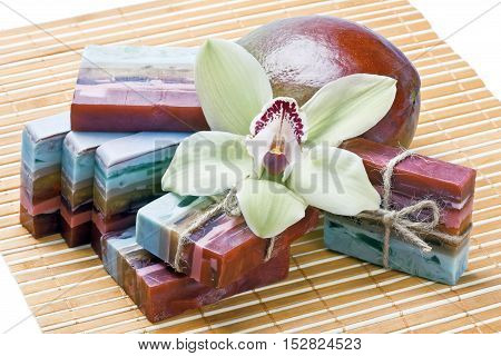 handmade soap with the scent of mango and orchid