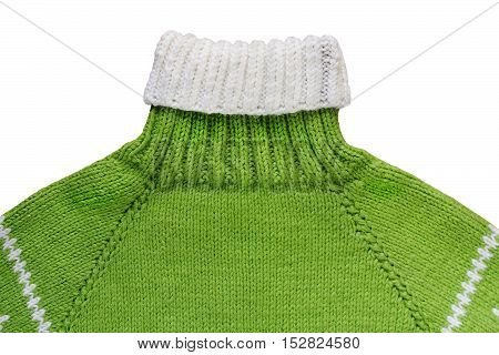 Warm green woolen knitted sweater - isolated object clothing
